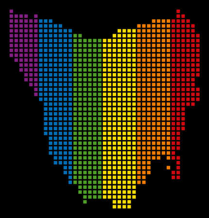 Spectrum vector abstract collage of Tasmania Island Map created of rounded square items. Vector homosexual tolerance geographic map in LGBT flag color tinges on a black background.