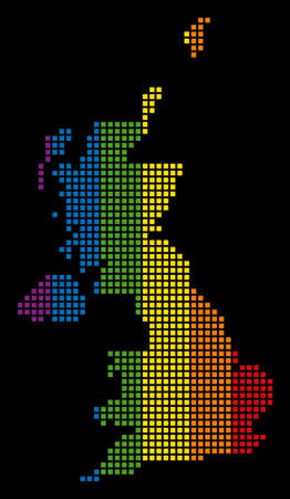 Color vector abstract pattern of United Kingdom Map done of rounded square pixels. Vector homosexual tolerance geographic map in LGBT flag color hues on a black background. Illustration