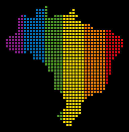 Multicolored vector abstract mosaic of Brazil Map designed of rounded square dots. Vector homosexual tolerance geographic map in LGBT flag color shades on a black background.