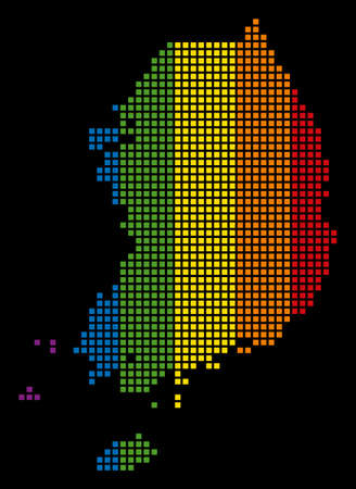 Multicolored vector abstract mosaic of South Korea Map combined of rounded square items. Vector homosexual tolerance geographic map in LGBT flag color hues on a black background. Illustration