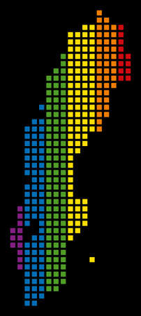 Colored vector abstract pattern of Sweden Map organized of rounded square elements. Vector homosexual tolerance geographic map in LGBT flag color tinges on a black background. Illustration