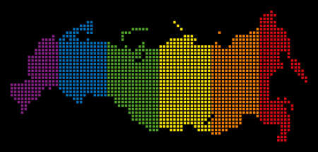 Spectrum vector abstract composition of Russia Map combined of rounded square elements. Vector homosexual tolerance geographic map in LGBT flag color hues on a black background. Illustration