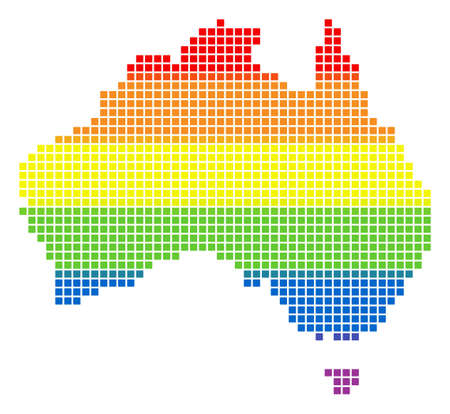 Vector homosexual tolerance Australia Map in LGBT flag colors on a white background. Colored vector abstract collage of Australia Map created of rounded square elements.