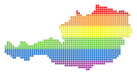 Vector homosexual tolerance Austria Map in LGBT flag colors on a white background. Spectrum vector abstract mosaic of Austria Map designed of rounded square items.