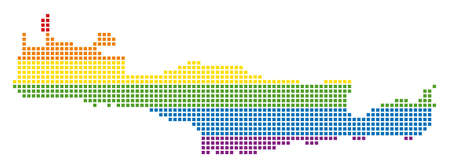 Vector homosexual tolerance Crete Island Map in LGBT flag colors on a white background. Colored vector abstract mosaic of Crete Island Map created of rounded square pixels.