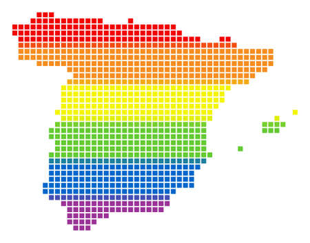 Vector homosexual tolerance Spain Map in LGBT flag colors on a white background. Color vector abstract collage of Spain Map made of rounded square pixels. Same sex marriage conceptual illustration.