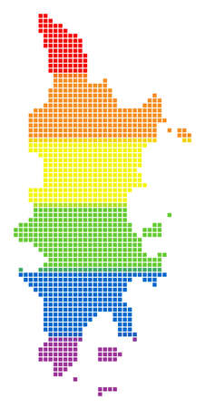 Vector homosexual tolerance Phuket Map in LGBT flag colors on a white background. Spectrum vector abstract collage of Phuket Map combined of rounded square dots.