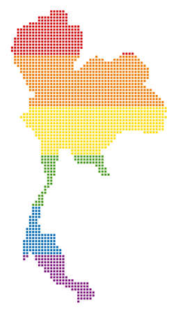 Vector homosexual tolerance Thailand Map in LGBT flag colors on a white background. Color vector abstract pattern of Thailand Map composed of rounded square pixels.