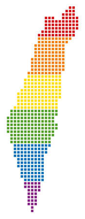 Vector homosexual tolerance Israel Map in LGBT flag colors on a white background. Multicolored vector abstract concept of Israel Map created of rounded square pixels.