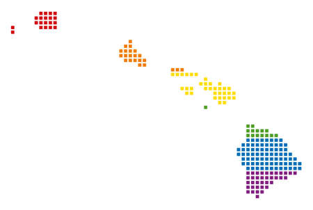 Vector homosexual tolerance Havaii Islands Map in LGBT flag colors on a white background. Multicolored vector abstract concept of Havaii Islands Map constructed of rounded square items. Illustration