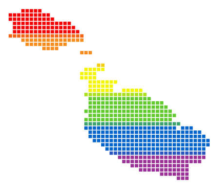 Vector homosexual tolerance Malta Island Map in LGBT flag colors on a white background. Rainbow vector abstract collage of Malta Island Map made of rounded square pixels. Illustration