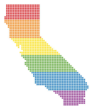 Raster homosexual tolerance California Map in LGBT flag colors on a white background. Rainbow raster abstract pattern of California Map designed of rounded square dots. Stock Photo