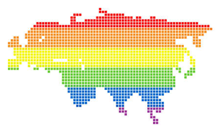 Raster homosexual tolerance Eurasia Map in LGBT flag colors on a white background. Rainbow raster abstract concept of Eurasia Map constructed of rounded square dots. Stock Photo