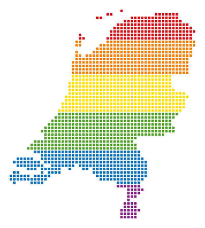 Raster homosexual tolerance Netherlands Map in LGBT flag colors on a white background. Spectrum raster abstract mosaic of Netherlands Map organized of rounded square dots. Stock Photo