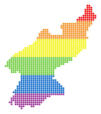 Raster homosexual tolerance North Korea Map in LGBT flag colors on a white background. Color raster abstract collage of North Korea Map composed of rounded square items. Stock Photo