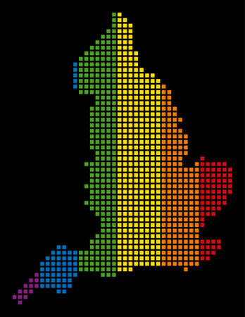Multicolored raster abstract mosaic of England Map constructed of rounded square elements. Raster homosexual tolerance geographic map in LGBT flag color tinges on a black background.