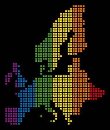 Colorful raster abstract mosaic of European Union Map created of rounded square dots. Raster homosexual tolerance geographic map in LGBT flag color tints on a black background. Stock Photo