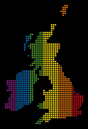 Multicolored raster abstract pattern of Great Britain And Ireland Map done of rounded square dots. Raster homosexual tolerance geographic map in LGBT flag color tinges on a black background.