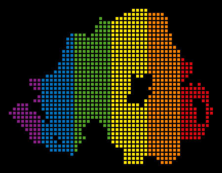 Colored raster abstract concept of Northern Ireland Map made of rounded square pixels. Raster homosexual tolerance geographic map in LGBT flag color variations on a black background. Stock Photo