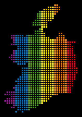 Spectrum raster abstract composition of Ireland Republic Map organized of rounded square pixels. Raster homosexual tolerance geographic map in LGBT flag color tints on a black background.