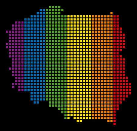 Multicolored raster abstract concept of Poland Map constructed of rounded square pixels. Raster homosexual tolerance geographic map in LGBT flag color variations on a black background. Stock Photo