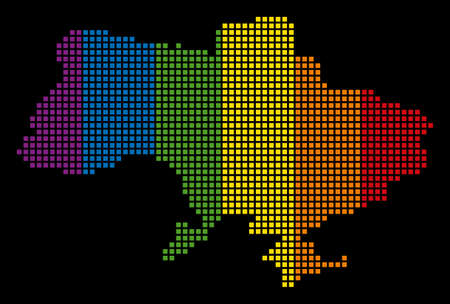 Colored raster abstract collage of Ukraine Map With Crimea designed of rounded square pixels. Raster homosexual tolerance geographic map in LGBT flag color tones on a black background.