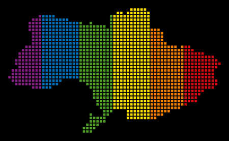 Spectrum raster abstract composition of Ukraine Map composed of rounded square elements. Raster homosexual tolerance geographic map in LGBT flag color variations on a black background.