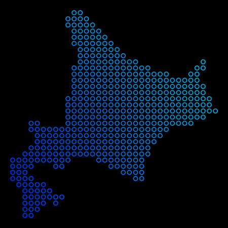A geographic map in blue gradient colors on a black background concept of Hokkaido Island Map designed of round dots.