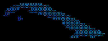 Round dot vector geographic map of Cuba in blue gradient colors on a black background.