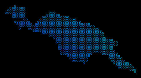 Round dot new guinea island map. Vector geographic map in blue gradient colors on a black background. Vector mosaic of New Guinea Island Map composed of small circles.
