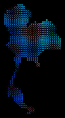 Circle dot thailand map. Vector geographic map in blue gradient colors on a black background. Vector pattern of Thailand Map designed of round elements.