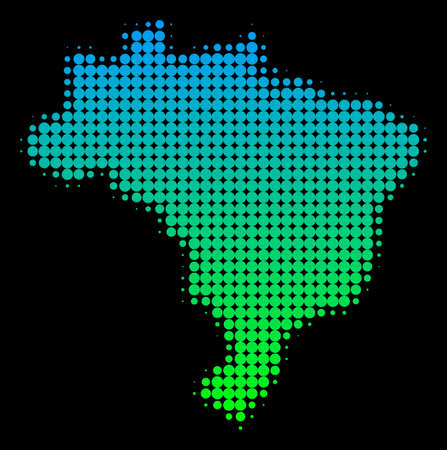 Halftone round spot territorial map in green-blue gradient colors on a black background. Vector collage of Brazil Map constructed of circle elements.