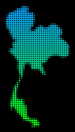 Halftone circle blot Thailand Map as a territory map in green-blue gradient colors on black.