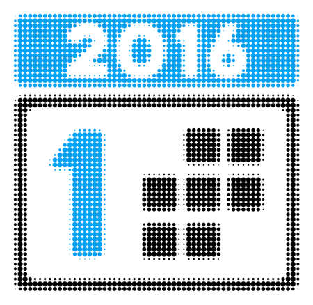 2016 Day halftone vector pictogram. Illustration style is dotted iconic 2016 Day icon symbol on a white background. Halftone pattern is round blots.