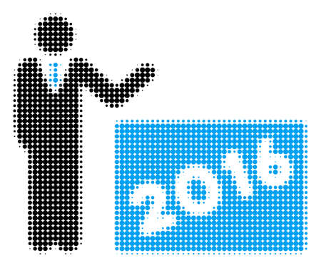2016 Show halftone vector pictogram. Illustration style is dotted iconic 2016 Show icon symbol on a white background. Halftone texture is circle elements. Banque d'images - 99683591