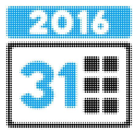 2016 Month halftone raster icon. Illustration style is dotted iconic 2016 Month icon symbol on a white background. Halftone pattern is circle points.