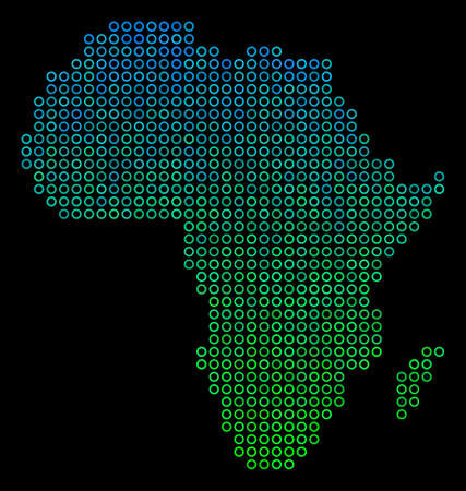 Dotted gradient Africa Map. Vector geographical map in green and blue gradiented color variations on a black background. Vector composition of Africa Map done of small spheres.