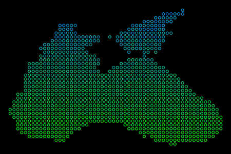 Dotted gradient Black Sea Map. Vector territorial map in green and blue gradiented color hues on a black background. Vector concept of Black Sea Map organized of sphere elements.