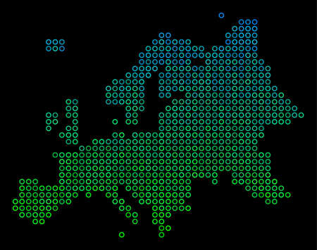 Dotted gradient Europe Map. Vector geographical map in green and blue gradiented color variations on a black background. Vector pattern of Europe Map done of sphere dots. Illustration
