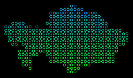 Dotted gradient Kazakhstan Map. Vector territorial map in green and blue gradiented color variations on a black background. Vector concept of Kazakhstan Map created of sphere blots.