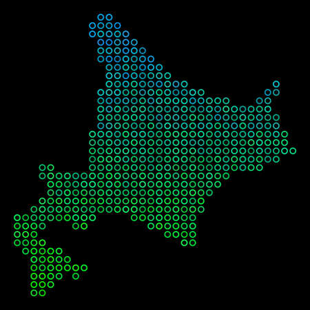 Dotted gradient Hokkaido Island Map. Vector geographic map in green and blue gradiented color tinges on a black background. Vector concept of Hokkaido Island Map constructed of spheric elements. Illustration