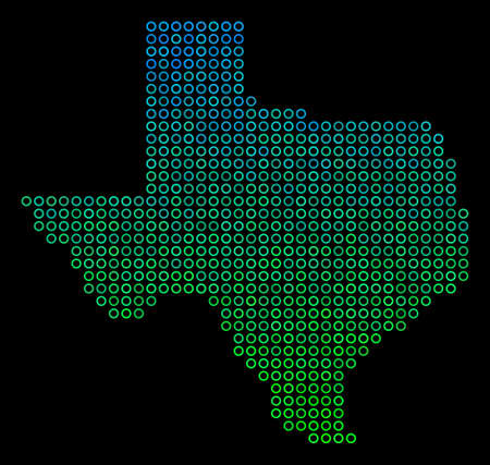 Dotted gradient Texas Map. Vector territorial map in green and blue gradiented color tones on a black background. Vector composition of Texas Map made of circle elements.