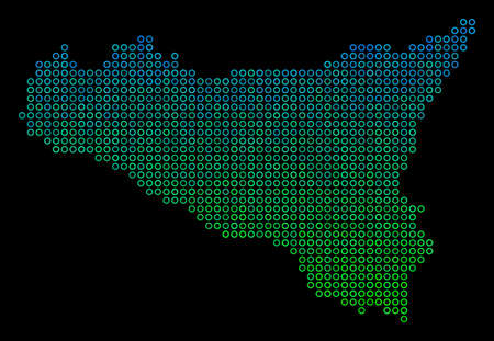 Dotted gradient Sicilia Map. Vector territory map in green and blue gradiented color tinges on a black background. Vector collage of Sicilia Map done of circle points.