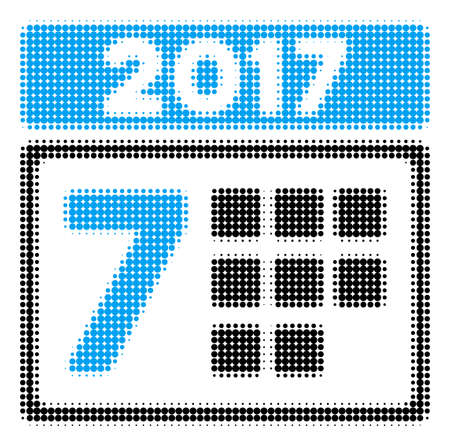 2017 Year 7Th Day halftone vector icon. Illustration style is dotted iconic 2017 Year 7Th Day icon symbol on a white background. Halftone matrix is round items.