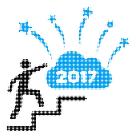 Profile avatar image climbing on stairs illustration