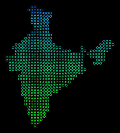 Dotted gradient India Map. Raster territorial map in green and blue gradiented color tones on a black background. Raster composition of India Map done of small spheres. Stock Photo
