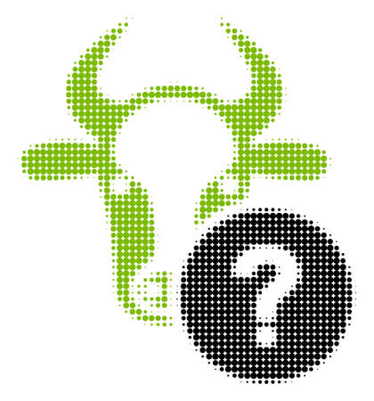 Cow Unknown Status halftone vector pictogram. Illustration style is dotted iconic Cow Unknown Status icon symbol on a white background. Halftone matrix is round spots.