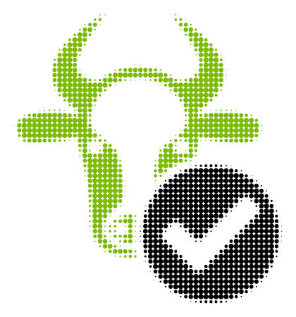 Cow Valid halftone vector icon. Illustration style is dotted iconic Cow Valid icon symbol on a white background. Halftone matrix is round dots. Illustration