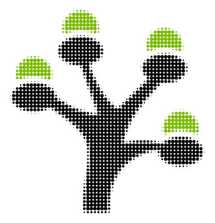 Money Tree halftone vector pictogram. Illustration style is dotted iconic Money Tree icon symbol on a white background. Halftone texture is round points.