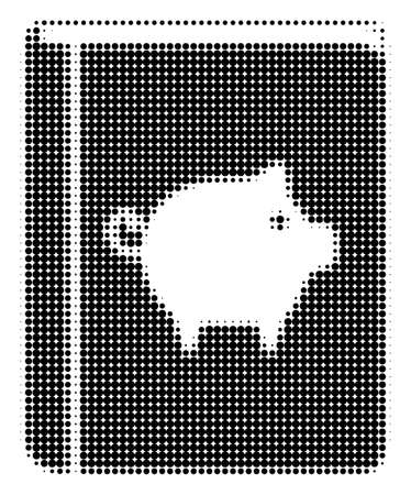 Pig Handbook halftone vector icon. Illustration style is dotted iconic Pig Handbook icon symbol on a white background. Halftone pattern is circle elements.